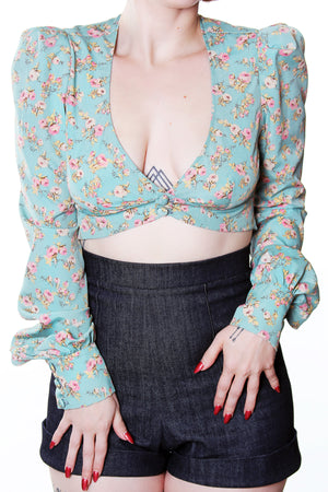 Marianne Vintage Roses Long Sleeve Cuffed Crop top - shopjessicalouise.com