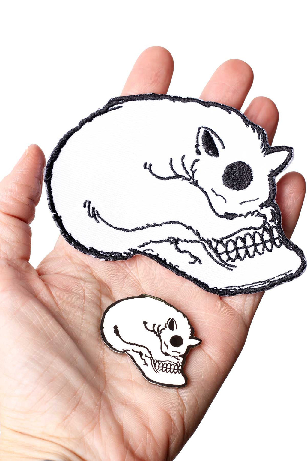 Cat Skull Embroidered Patch & Enamel Pin - shopjessicalouise.com