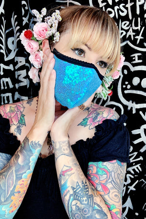 baby blue sequin face mask by Jessica Louise