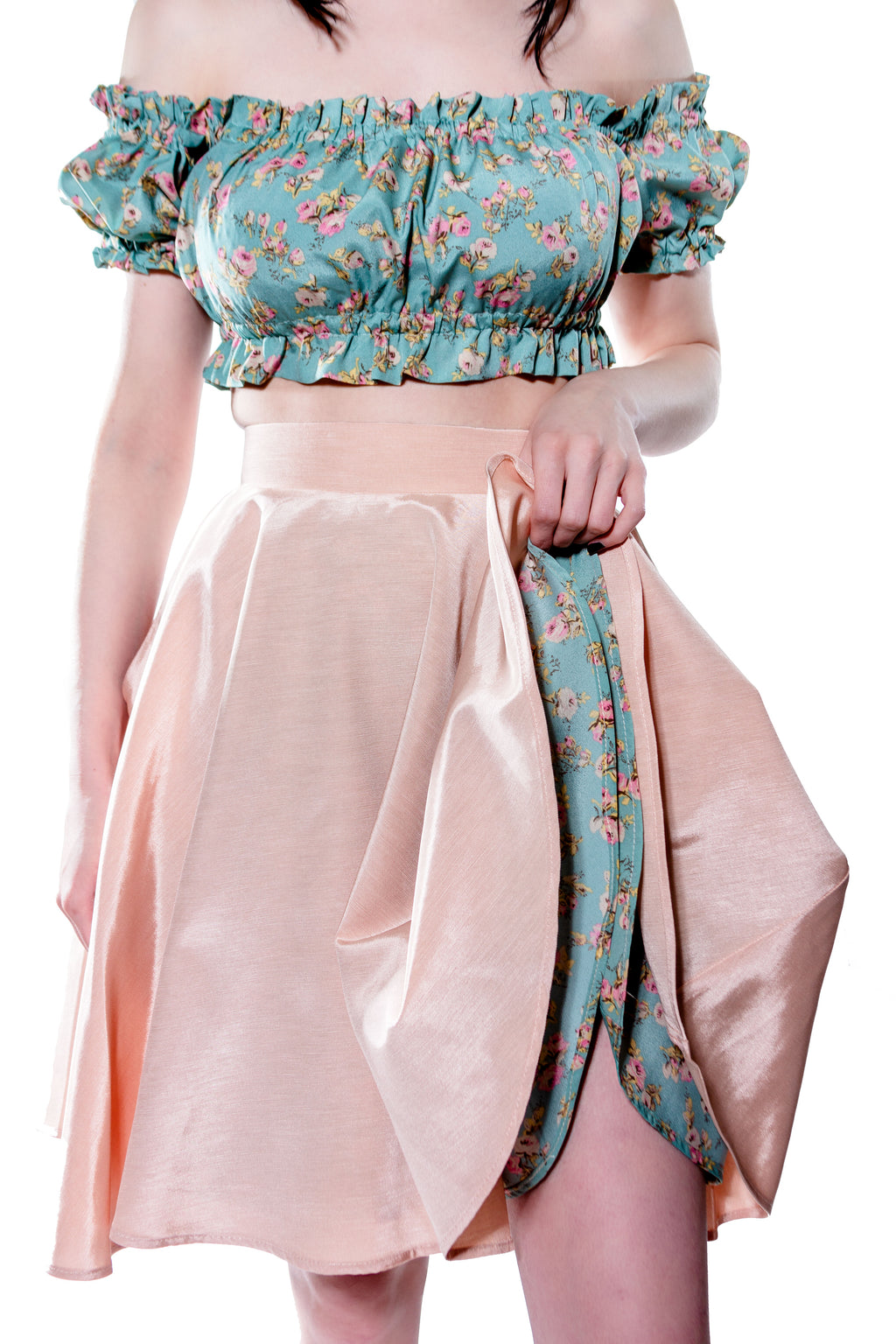 Pale Pink Lucille Above Knee Swing Skirt with Pockets - shopjessicalouise.com