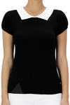 Basic Black Collared Sweater Top
