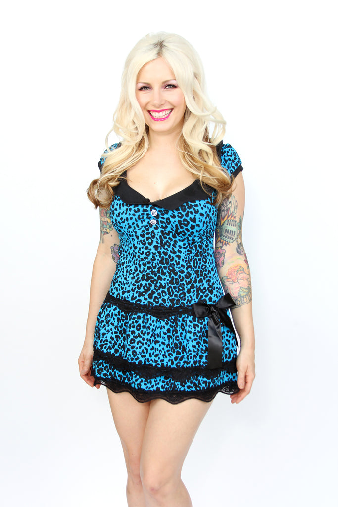 Blue leopard short dress by Jessica Louise