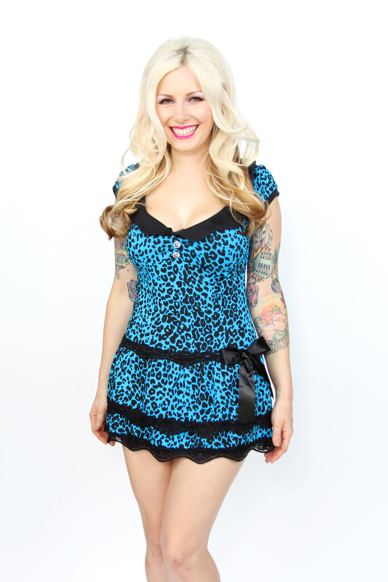 Blue Leopard Darling Keyhole Dress - shopjessicalouise.com