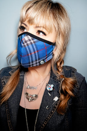 Face Mask Blue Plaid - shopjessicalouise.com
