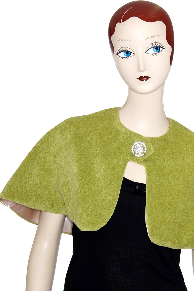 Green Vintage Lady Capelet with Rhinestone Closure - shopjessicalouise.com