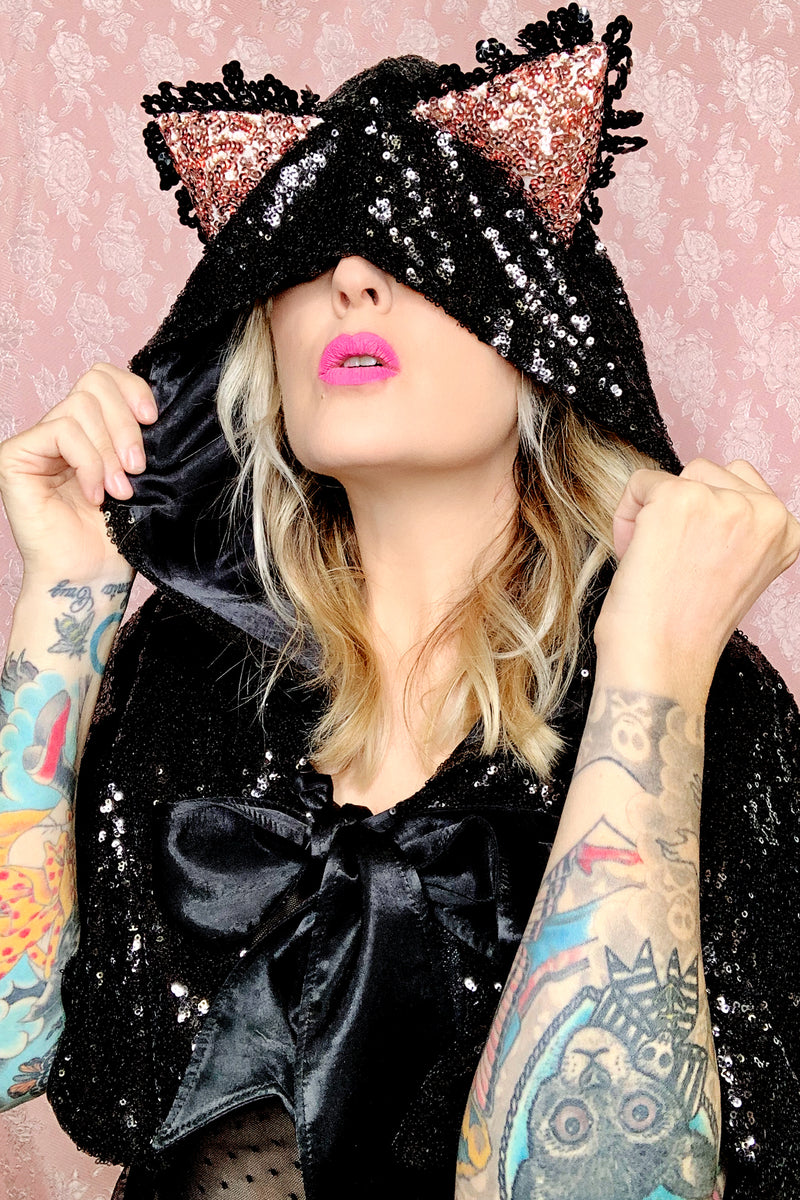 Sequin Hooded Cat Cape
