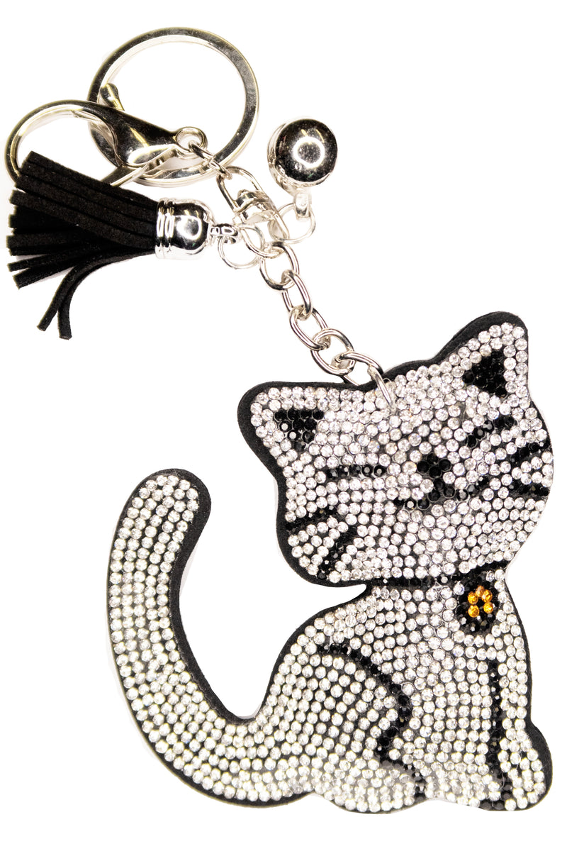 Diamante Cat Keychain