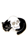 Black Cat Hugging Skull Pin - shopjessicalouise.com