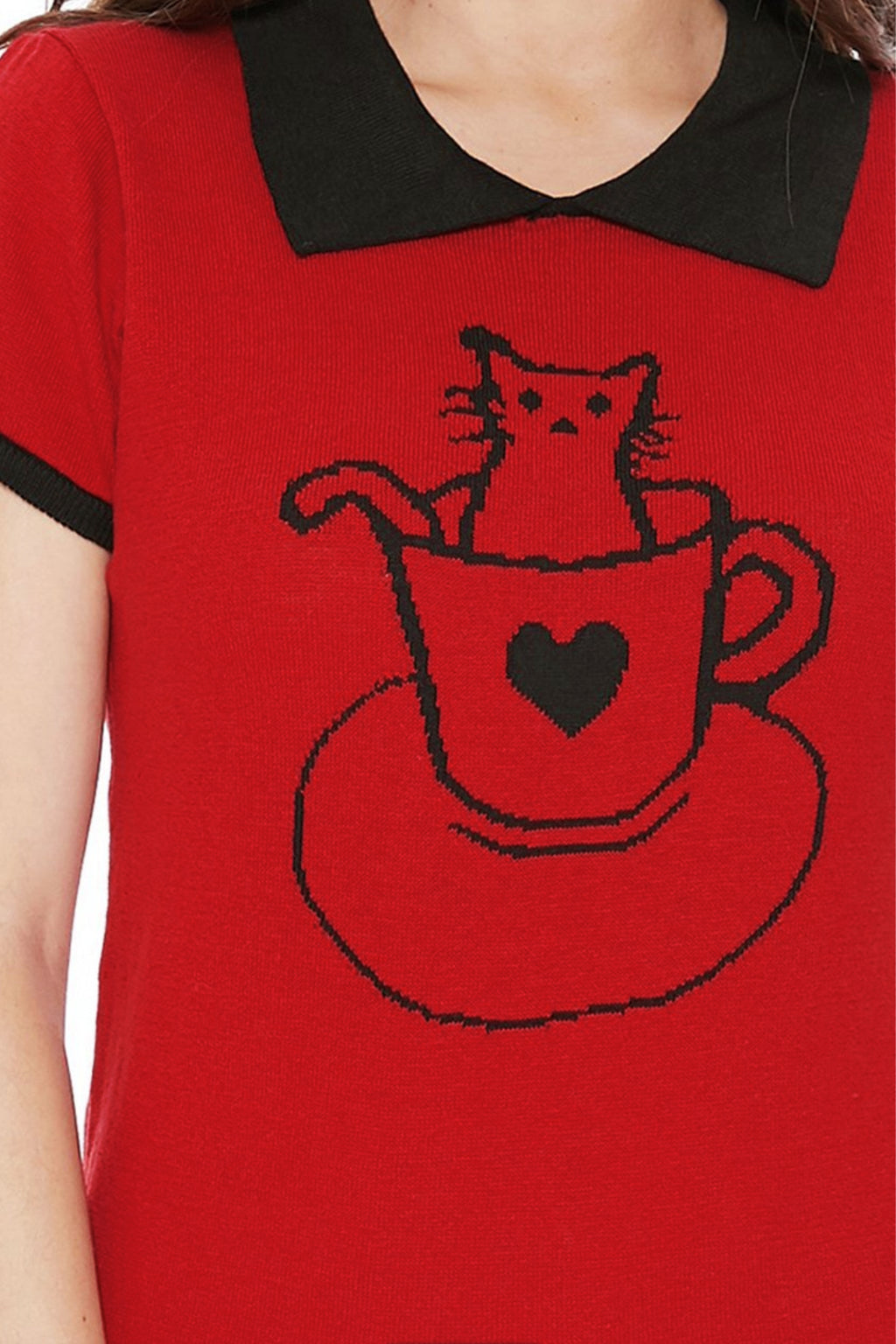 Pointed Collar Cat Tea Cup Short Sleeves Casual Pullover Sweater Red - shopjessicalouise.com