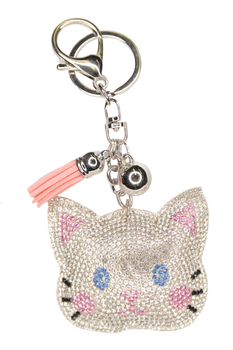 Diamante Cat Face Keychain
