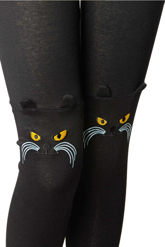 Embroidered Cat Face Leggings - shopjessicalouise.com