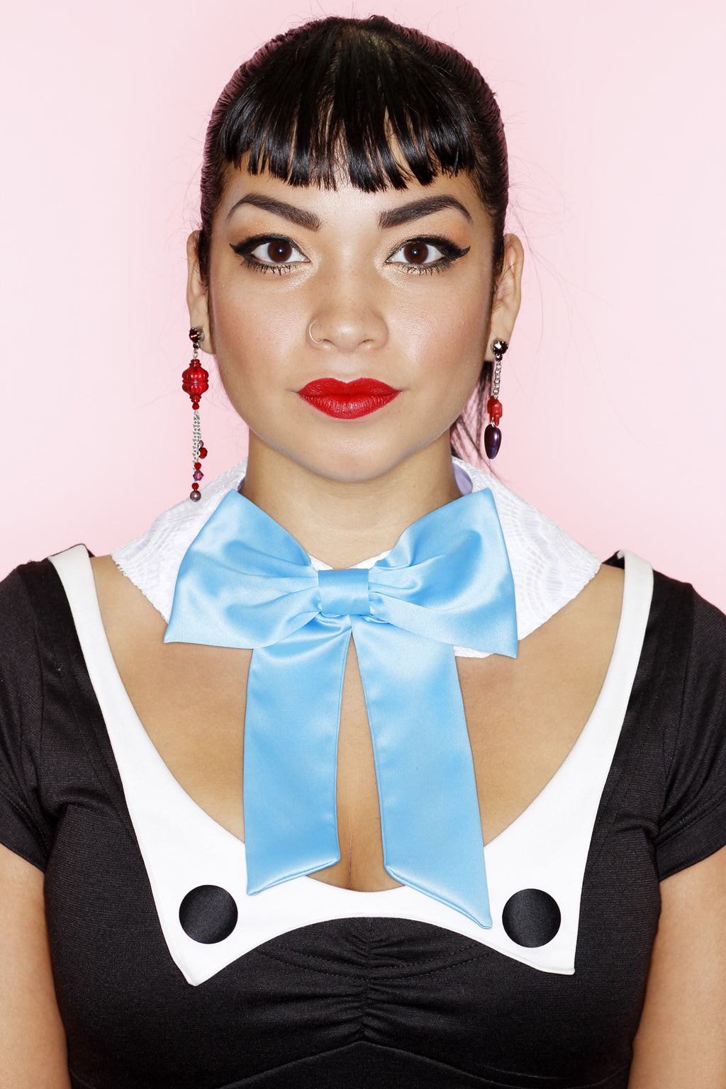 Blue Bow Satin Collar - shopjessicalouise.com