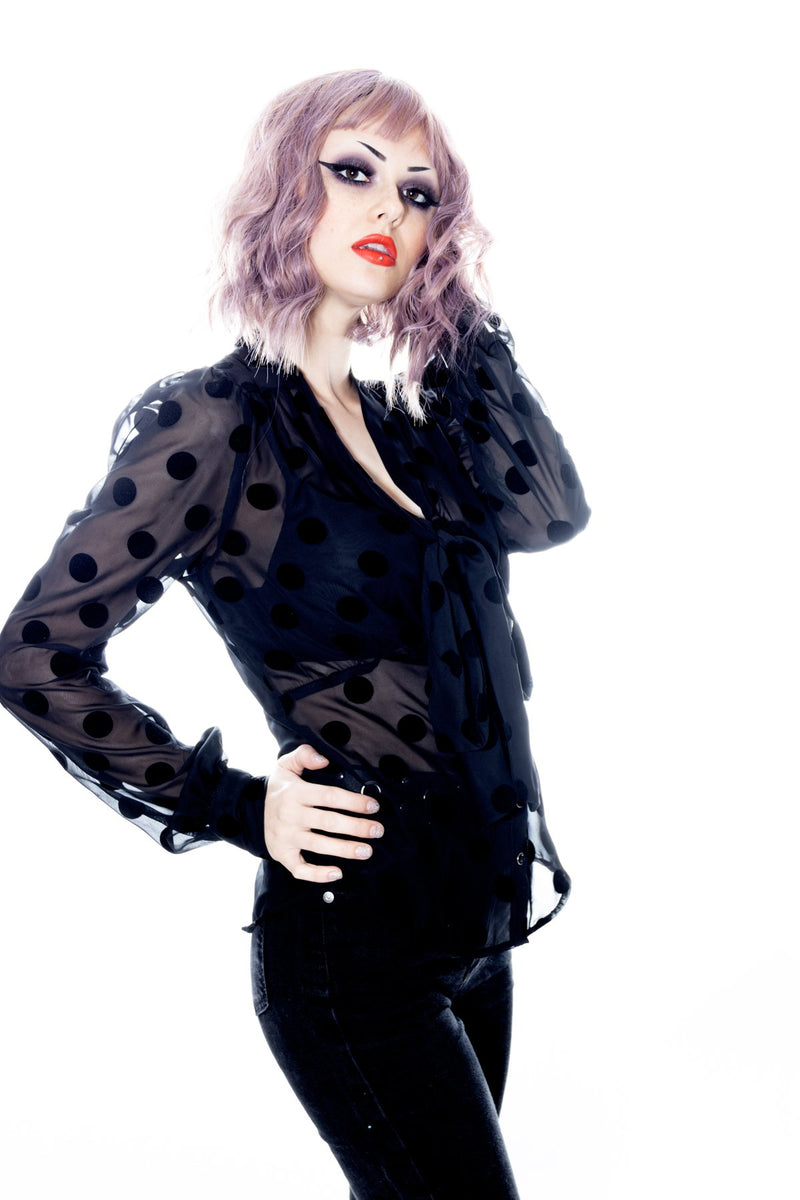 Long sleeve sheer blouse with velvet dots by Jessica Louise