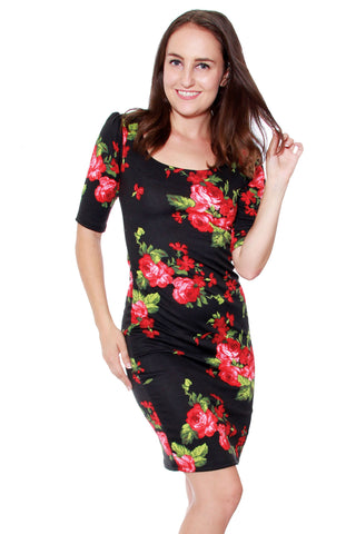 Red Roses Scallop Dress
