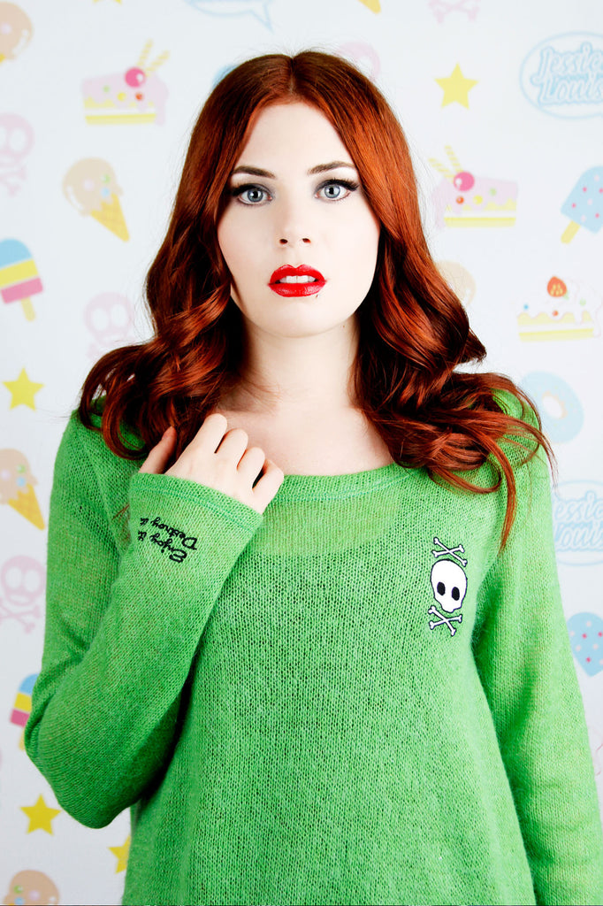 Oversize Green Wool Pullover with Embroideries - shopjessicalouise.com