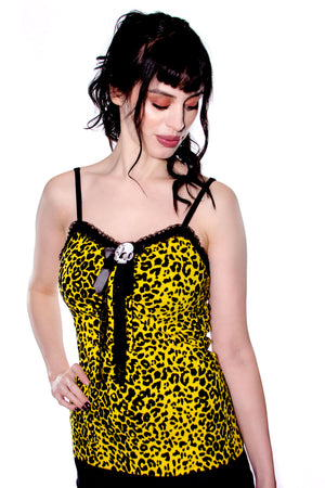 Yellow Leopard Skull Tank - shopjessicalouise.com