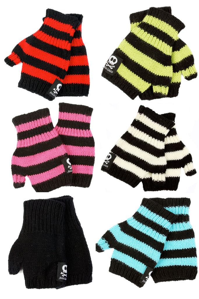 Jessica Louise Hand Knit Striped Fingerless Gloves - shopjessicalouise.com