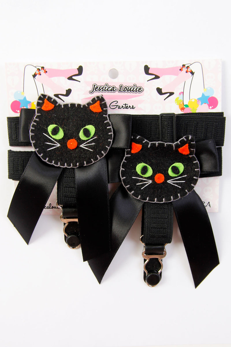 Black Cat Sock Garters - shopjessicalouise.com