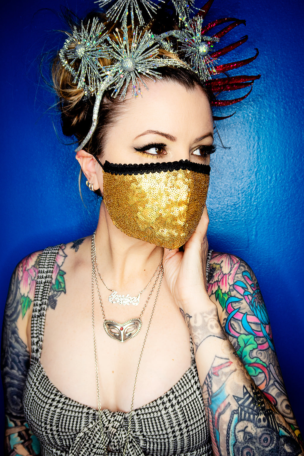 Gold Sequin Face Mask - shopjessicalouise.com