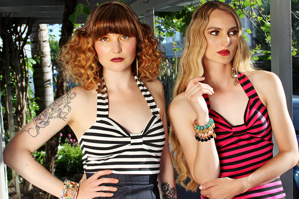 Jessica Louise Dollybird striped halter tank top. Available in three colors.