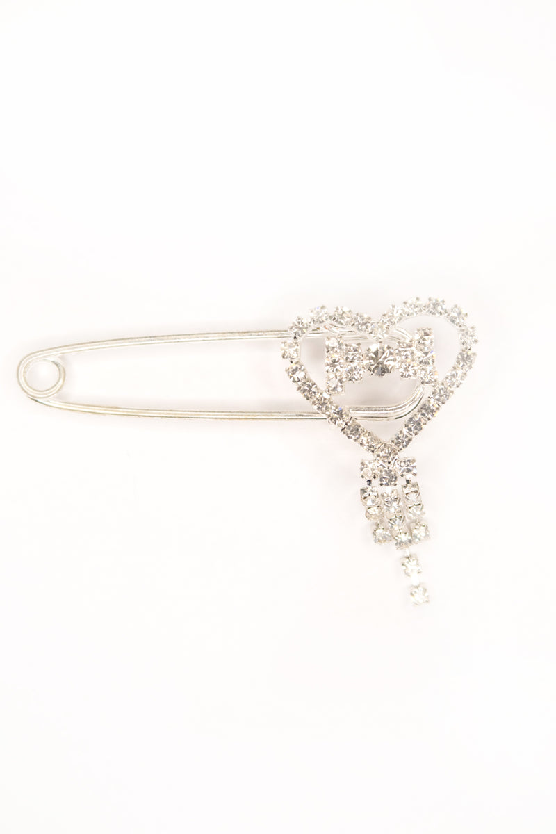 Diamante Heart Safety Pin Brooch