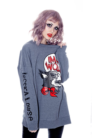 Plus size crewneck pullover with Im a wolf graphic print by Jessica Louise. With Pockets.