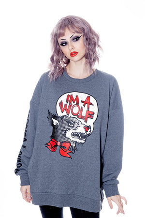 IM A WOLF- Pullover Grey Plus Size - shopjessicalouise.com
