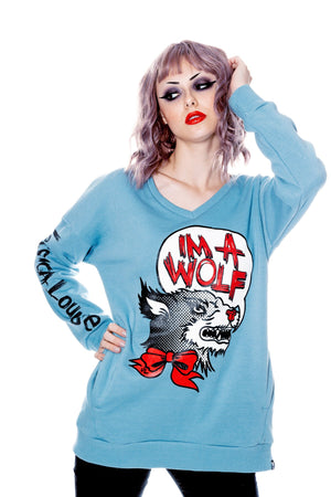 IM A WOLF- Pullover Blue - shopjessicalouise.com