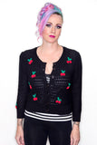 cherry cardigan black knit