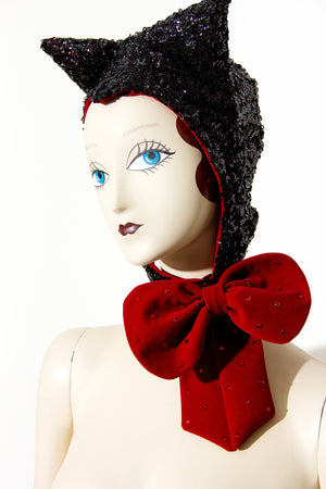 Sequin Cat Hat with Velvet Crystal Bow - shopjessicalouise.com