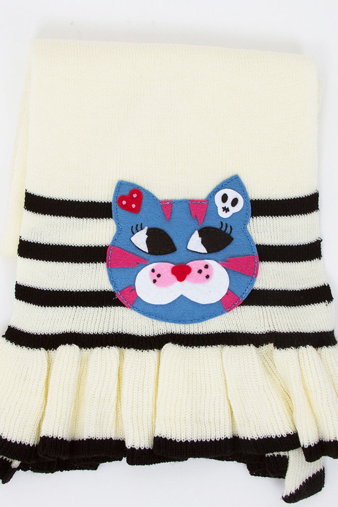 Lula Kitty Knit Applique Scarf - shopjessicalouise.com