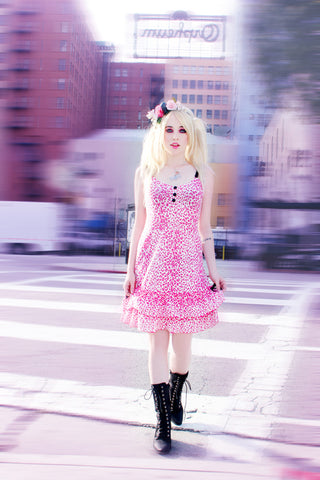 Flutter Sleeve Dots & Bows Dress