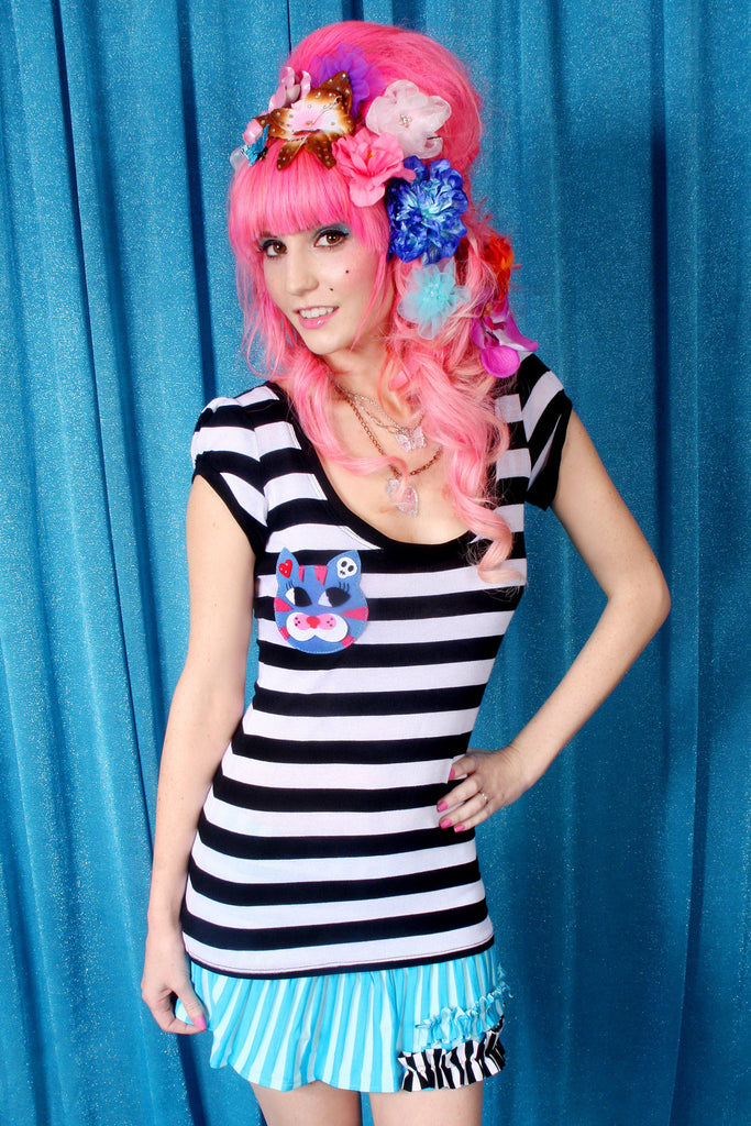 Lula Kitty Striped Shirt - shopjessicalouise.com
