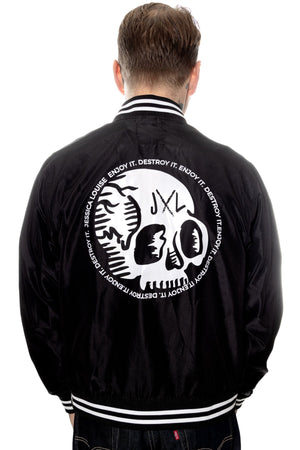 mens skull bomber jacket by Jessica Louise