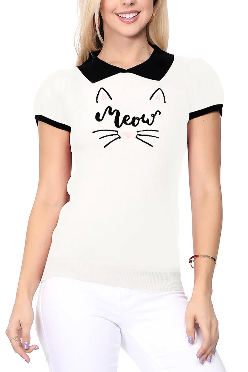 Meow Collared Sweater Top
