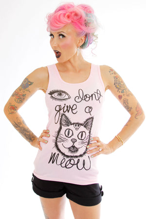 I don't give a meow cat face ribbed tank top - shopjessicalouise.com