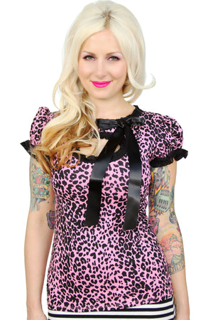 Leopard Molly Keyhole Puff Sleeve Top - shopjessicalouise.com