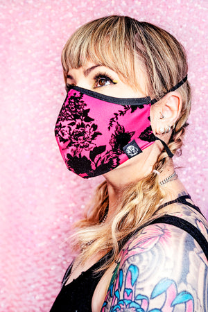 Face Mask Pink Flocked Rose - shopjessicalouise.com