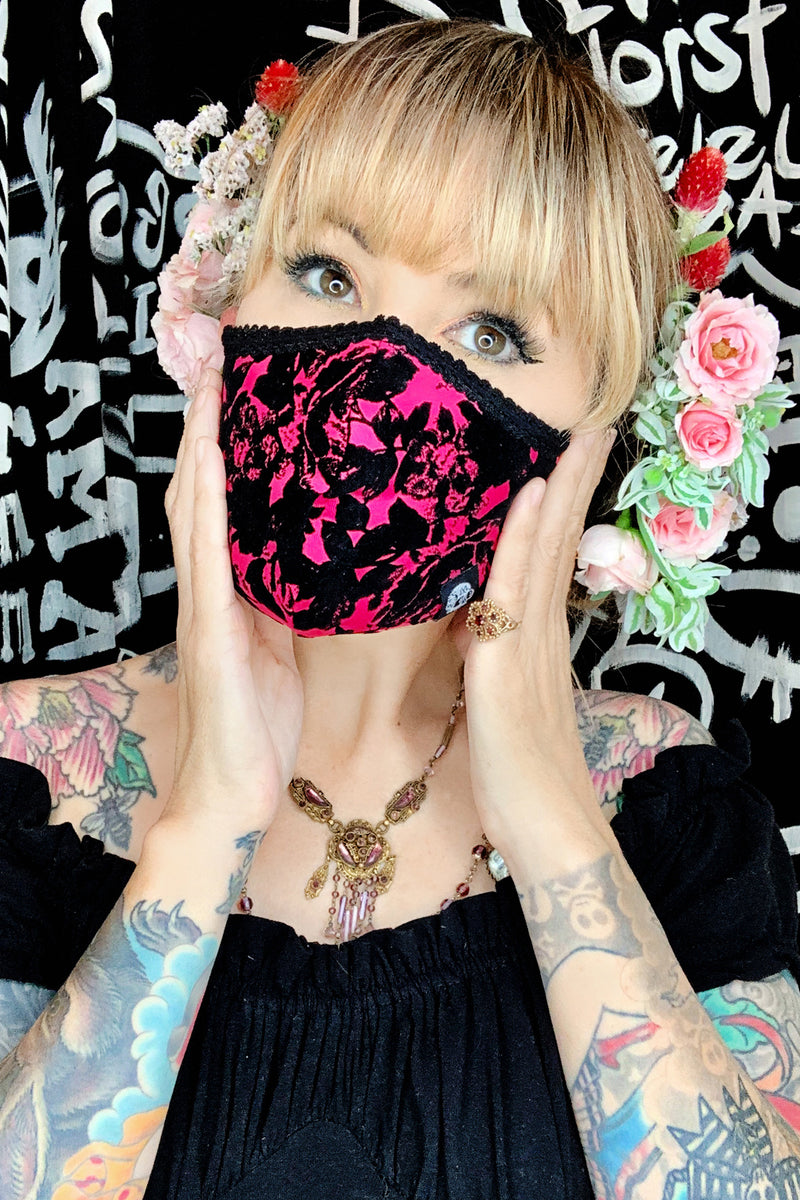Pink flocked rose face mask- jessica louise