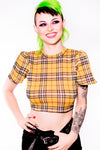 Short Sleeve Plaid Cropped top - shopjessicalouise.com