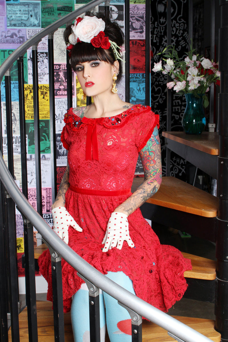 Lace Rose Red Dress - shopjessicalouise.com