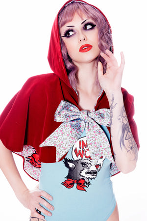 Red Velveteen Hooded Wolf Cape-Jessica Louise