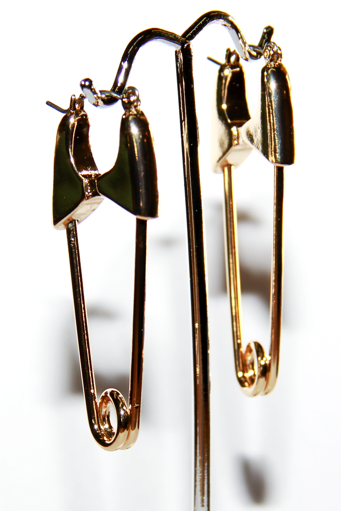 Gold Safety Pin Earrings - shopjessicalouise.com