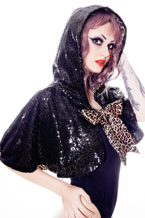 Hooded Sequin Cape