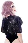 Sequin capelet Black