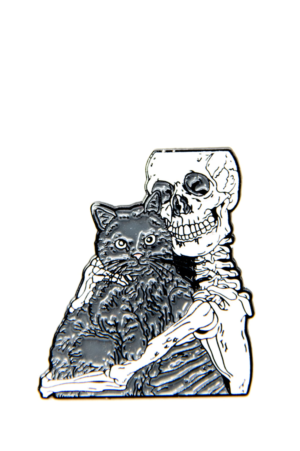 Skeleton hugging Cat enamel pin - shopjessicalouise.com