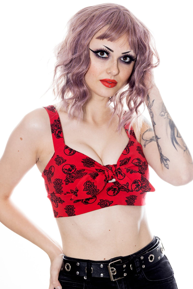 skull rose print crop top pinup