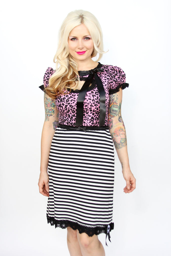 Striped slip skirt with skull by Jessica Louise