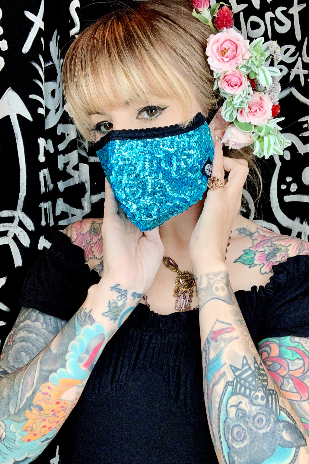 turquoise sequin face mask