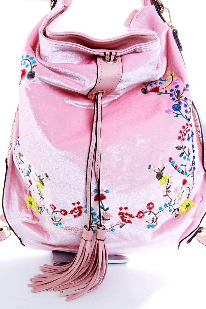 Velvet Floral Embroidered Backpack
